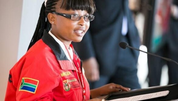 City Year South Africa service leader speaking at a podium