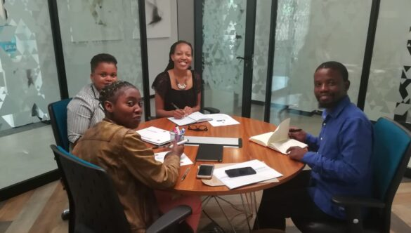Group of service leaders at an office during their Amathuba internship